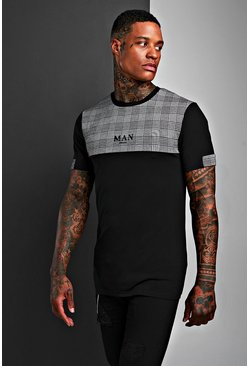 Mens Black Muscle Fit MAN Jacquard Check Panel T-Shirt