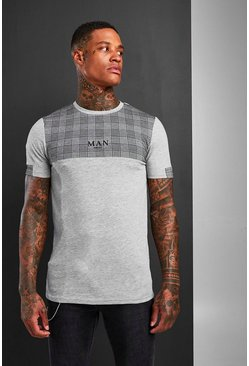Mens Grey Muscle Fit MAN Jacquard Check Panel T-Shirt