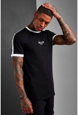 Mens Black Muscle Fit MAN Roman Sleeve Tape Ringer T-Shirt