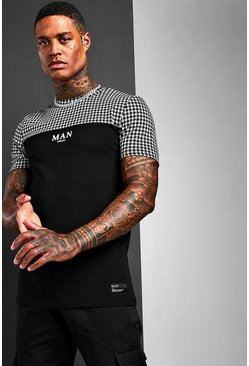Muscle Fit MAN Jacquard Check Panel T-Shirt, Black