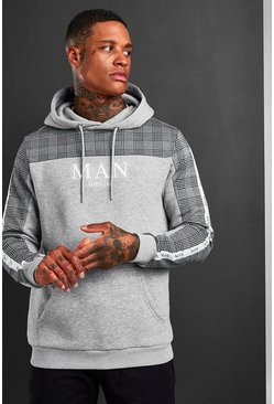 Mens Grey MAN Roman Jacquard Check Panel Hoodie With Tape