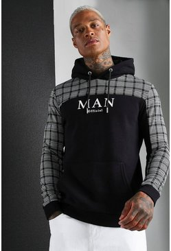 Mens Black MAN Roman Jacquard Check Panel Hoodie