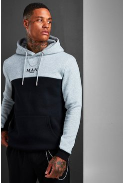 Mens Black MAN Roman Colour Block Hoodie With Back Tape