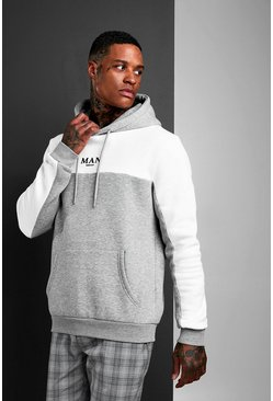 Mens Grey MAN Roman Colour Block Hoodie With Back Tape