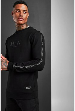 Mens Black Muscle Fit MAN Roman Sleeve Tape Sweat