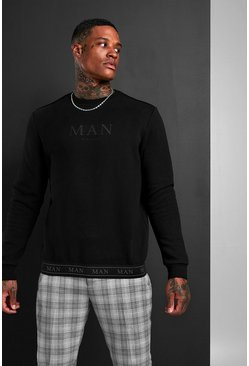 Mens Black MAN Roman Sweatshirt With Tape Hem