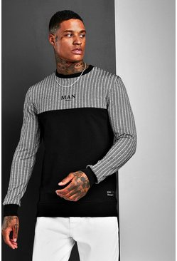 Black Muscle Fit MAN Jacquard Check Panel Sweat