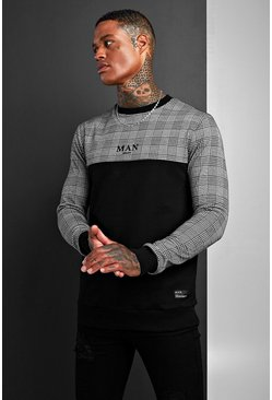 Herr Black Muscle Fit MAN Jacquard Check Panel Sweat
