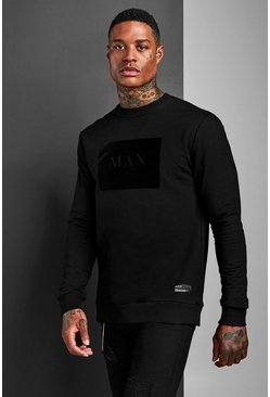 Mens Black Muscle Fit MAN Roman Flock Sweatshirt