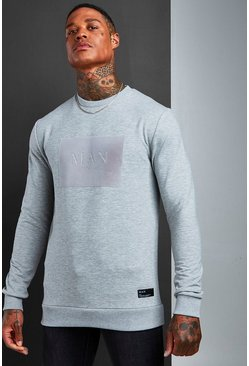 Mens Grey Muscle Fit MAN Roman Flock Sweatshirt