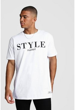 Dadju Charity Oversized Style Engagement T-Shirt, White, HERREN