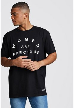 Dadju Charity Oversized Women Are Precious Tee, Black, HERREN