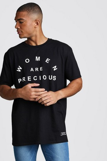 Mens Black Dadju Charity Oversized Women Are Precious Tee