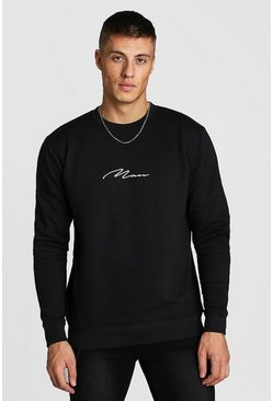 MAN Signature Embroidered Sweatshirt, Black
