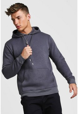Basic Over The Head Fleece Hoodie, Charcoal