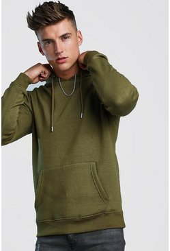 Khaki Basic Over The Head Fleece Hoodie
