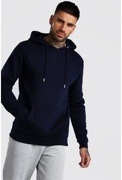 Navy Basic Over The Head Fleece Hoodie