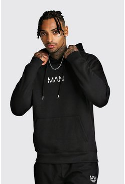 Original MAN Print Over The Head Hoodie, Black