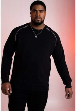 Big And Tall Raglan Sweatshirt With Zip Detail, Black, Uomo
