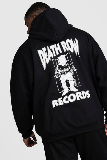 Black Big And Tall Death Row Records License Hoodie