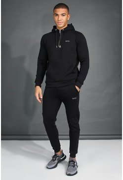 Mens Black MAN Active Tapered 1/4 Zip Tracksuit