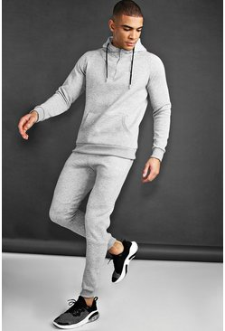 Mens Grey MAN Active Tapered 1/4 Zip Tracksuit