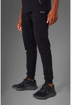 Mens Black MAN Active Tapered Fit Jogger