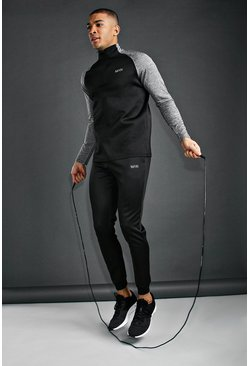 MAN Active Funnel Neck Tracksuit, Black, HOMMES