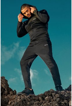 Black MAN Active Skinny Fit Panelled Tracksuit