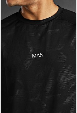 Man Active Fabric Interest Raglan T-Shirt, Black