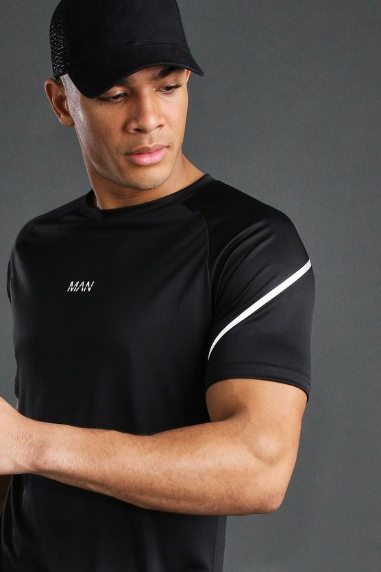 Black MAN Active T-Shirt With Reflective Sleeve Detail
