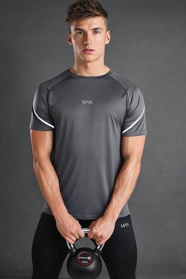 Charcoal MAN Active T-Shirt With Reflective Sleeve Detail
