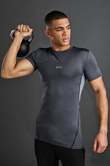 Charcoal MAN Active Compression T-Shirt With Seam Detail