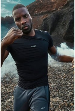 Mens Black MAN Active Compression T-Shirt With Seam Detail