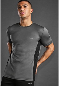 Charcoal MAN Active T-Shirt With Panel Detail