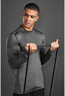 MAN Active Compression Long Sleeve T-Shirt, Charcoal