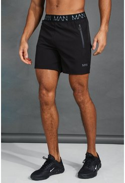 Mens Black MAN Active Waistband Shorts