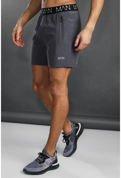 Mens Charcoal MAN Active Wasitband Shorts