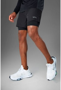 Mens Black MAN Active 2 In 1 Shorts