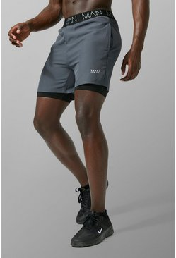 MAN Active 2 In 1 Shorts, Charcoal, HOMMES