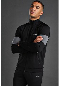 Mens Black MAN Active Colour Block Funnel Neck Top