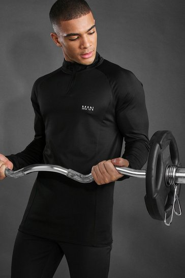 Black MAN Active Raglan Muscle Fit 1/4 Zip Top