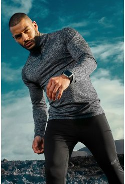 Mens Charcoal MAN Active Raglan Skinny Fit Funnel Neck Top
