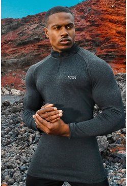 Mens Black MAN Active Raglan Skinny Fit Funnel Neck Top