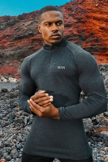 Black MAN Active Raglan Skinny Fit Funnel Neck Top
