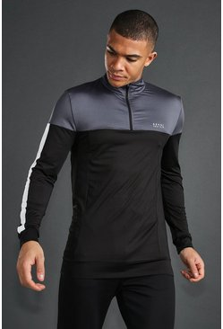 MAN Active Skinny 1/4 Zip Funnel Neck Top, Charcoal