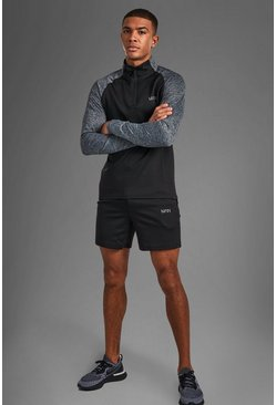 MAN Active Funnel Neck Short Set, Black