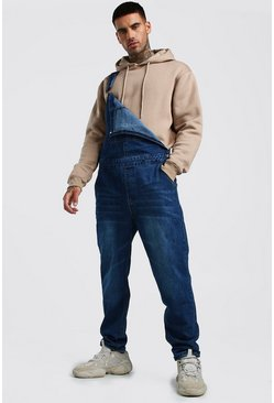 Relaxed Fit Long Length Denim Dungarees, Dark wash, HOMBRE