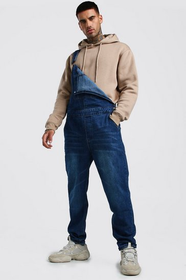 Dark wash Relaxed Fit Long Length Denim Dungarees