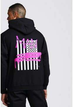 MAN Graffiti Flag Back Print Hoodie, Black, Uomo